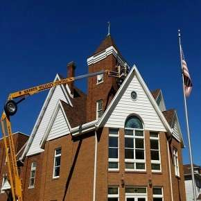Bat & Squirrel Removal Project at Dayton Ohio Church using our lift to make repairs at heights not accessible by ladder.