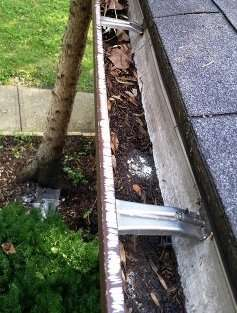 Here is a photo showing what squirrel chewing does to Metal Soffits & Gutters